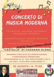 Concerto di musica moderna il 30 agosto