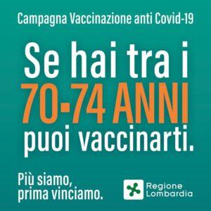 Vaccinazioni tra i 70 e i 74 anni, prenotazioni dall' 8 aprile