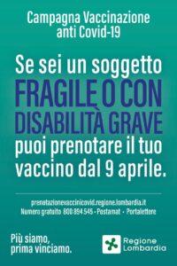 Vaccinazioni, persone fragili e con gravi disabilità: prenotazioni dal 9 aprile